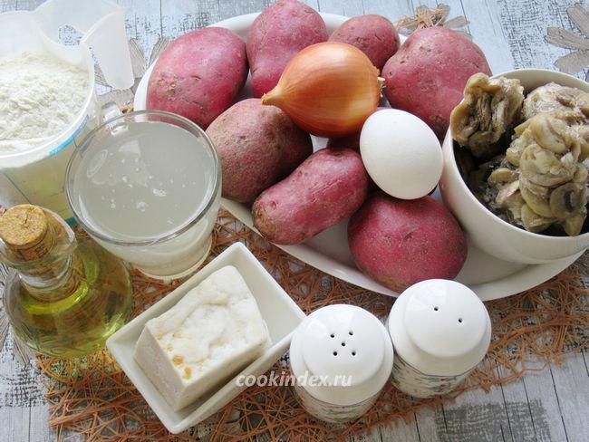 Вареники с картофелем и шампиньонами - ингредиенты