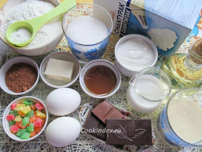 Домашний бисквитный торт со взбитыми сливками - ингредиенты