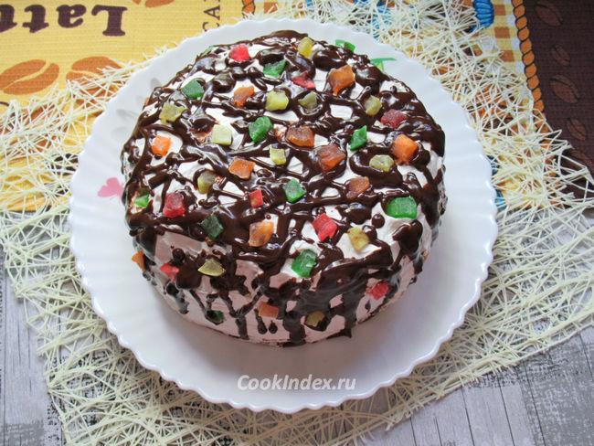 Домашний бисквитный торт со взбитыми сливками - рецепт